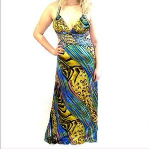 Cache Multi Print Cross Back Silk Prom Gown sz 12